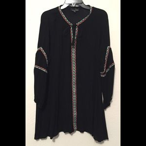 Suzanne Betro, Women's Black, Embroidered, Tunic